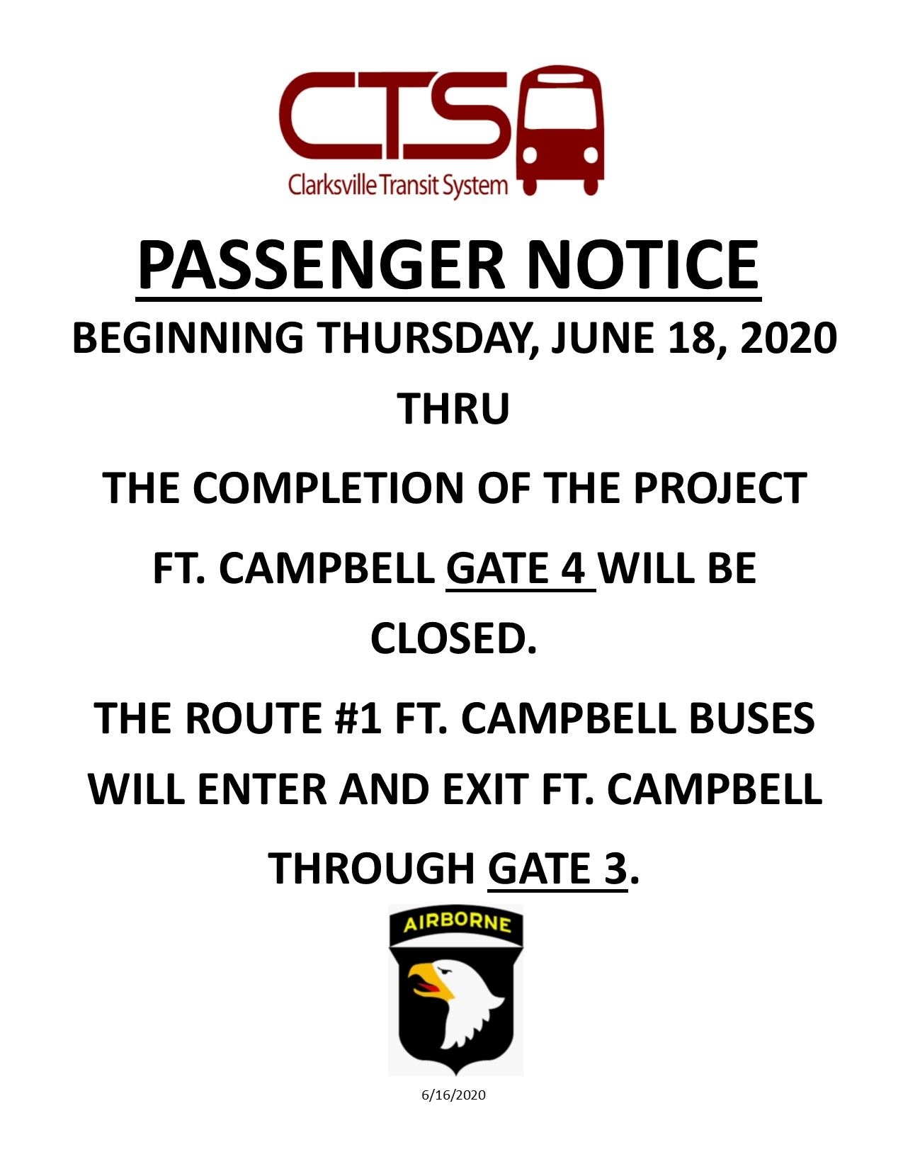 Passenger NOTICE Gate 4 closure 6-18 thru Completion of project