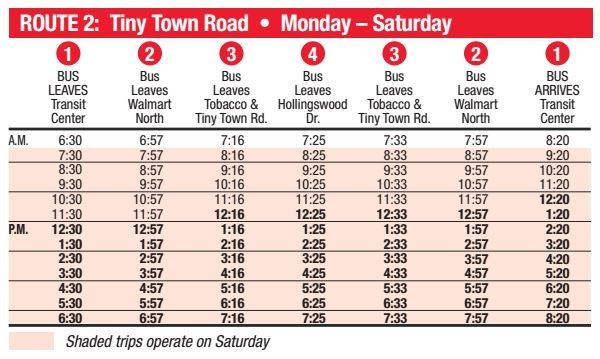 Route 2 Schedule